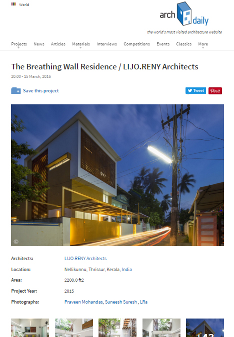 ARCHIDAILY - The breathing wall residence - March 2016